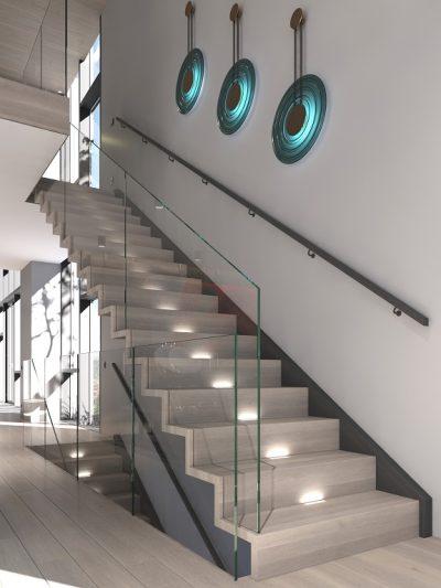 Modern I-form trapp med lukkede trinn og ledbelysning. Xtrapp