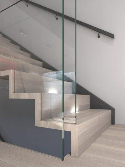 Modern tretrapp med glassrekkverk. Xtrapp