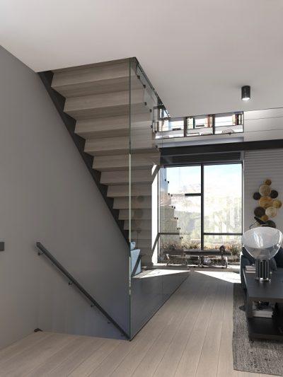 Tretrapp med lukkede trinn og glasrekkverk. Xtrapp