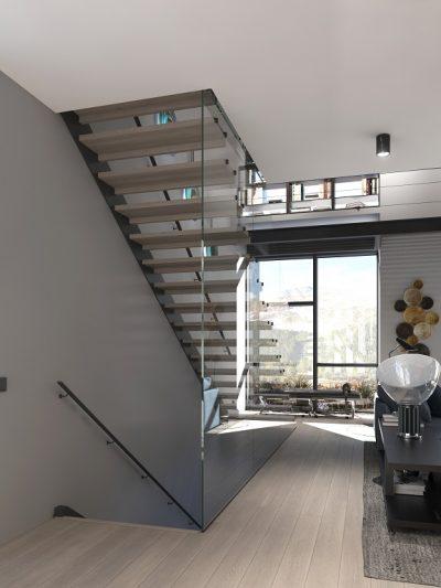Modern tretrapp med svevende trinn. Xtrapp
